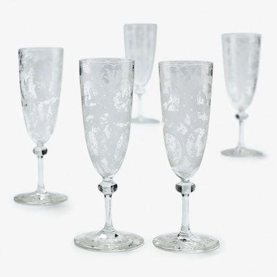 Vintage Crystal Champagne Flutes Set of 5 Clear