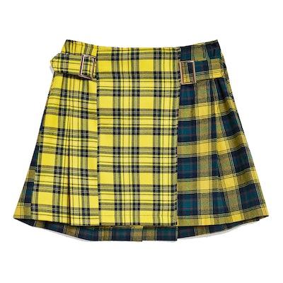 PETITE Mix Check Buckle Kilt Skirt