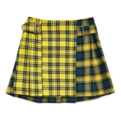 PETITE Mix Check Buckle Kilt Skirt