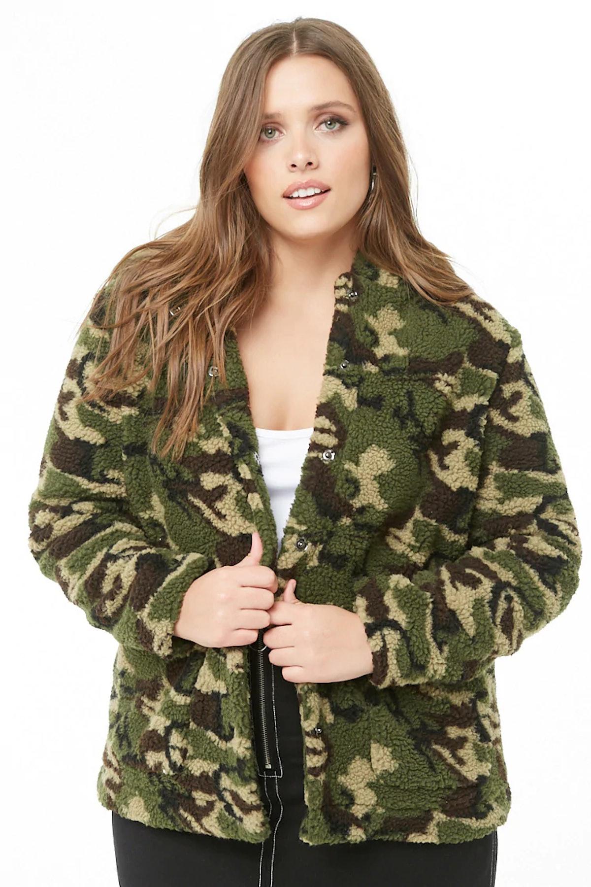 Plus Size Faux Shearling Camo Jacket