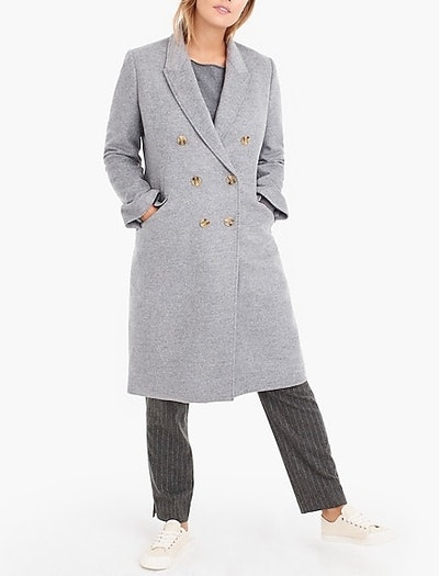 Long Double-Breasted Topcoat in Wool-Cashmere