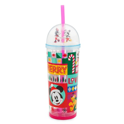 Mickey and Minnie Mouse Holiday Snow Globe Tumbler With Straw