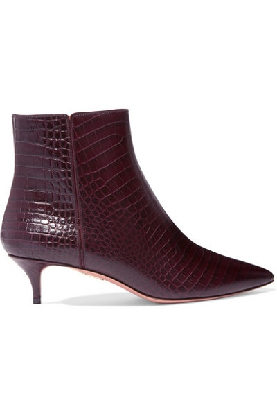 Quant Croc-Effect Leather Ankle Boots