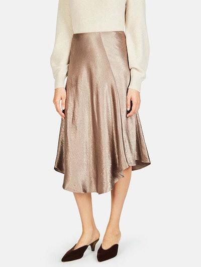 Crushed Satin Bias Skirt