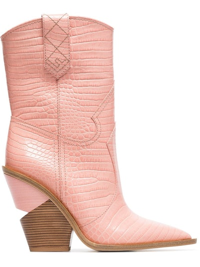 Crocodile-embossed Ankle Boots