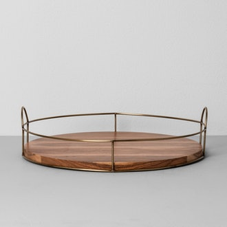 Round Wood and Wire Tray
