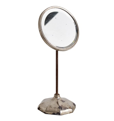 Adjustable Round Nickel Plated Table Top Mirror