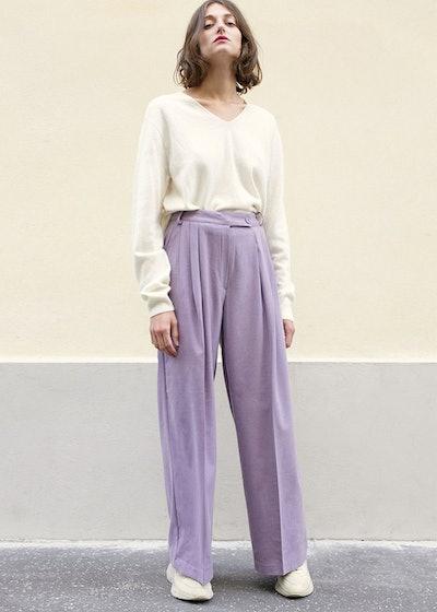 Lavender Wide Leg Suit Pants