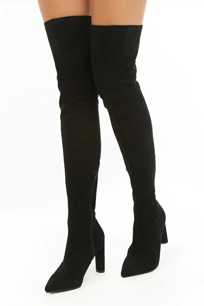 Faux Suede high-High Sock Boots