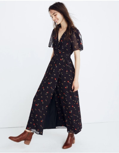 Tulip Sleeve Maxi Dress in Sweet Blossoms