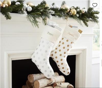 Personalized Metallic Dot Stockings