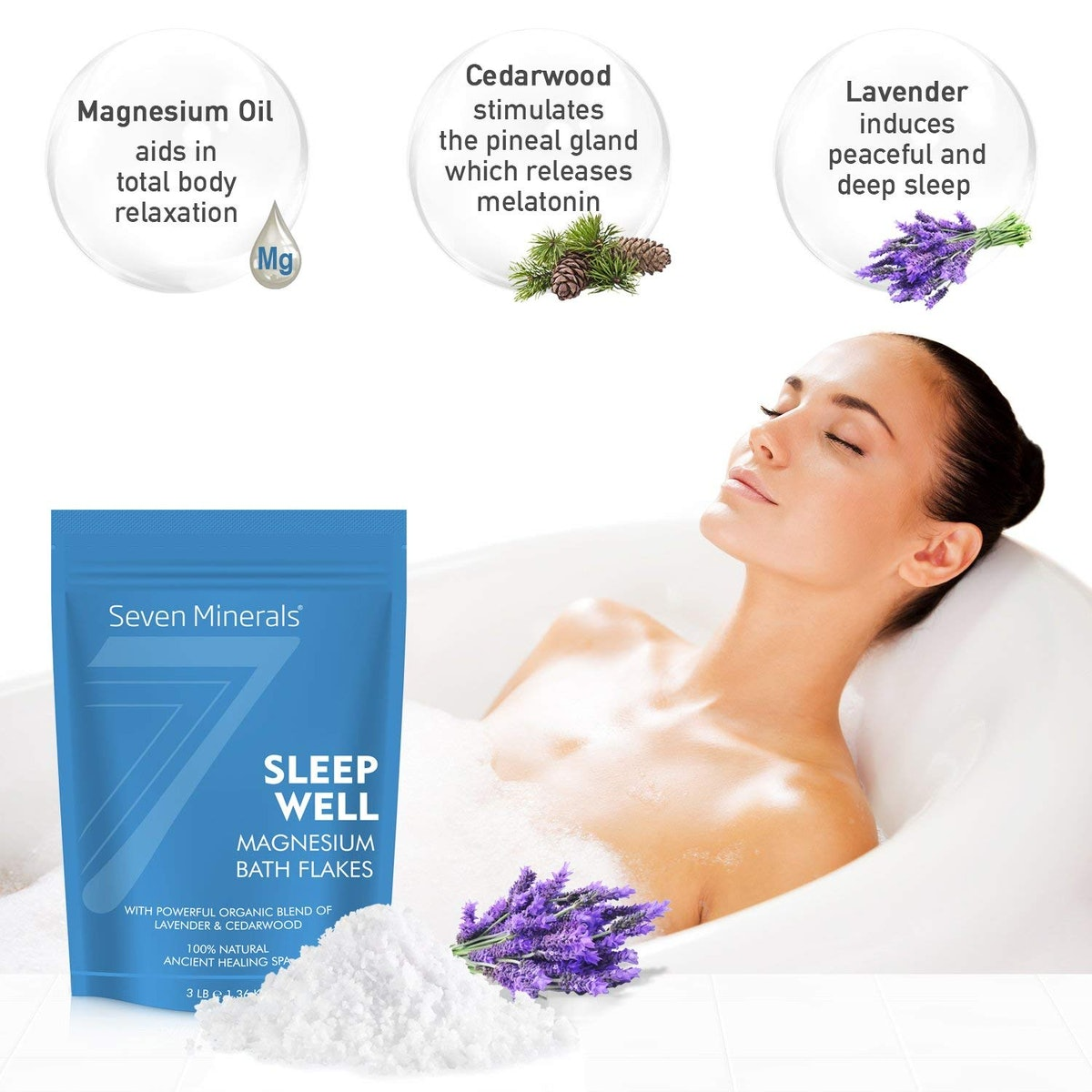 Seven Minerals SLEEP WELL Magnesium Chloride Bath Flakes