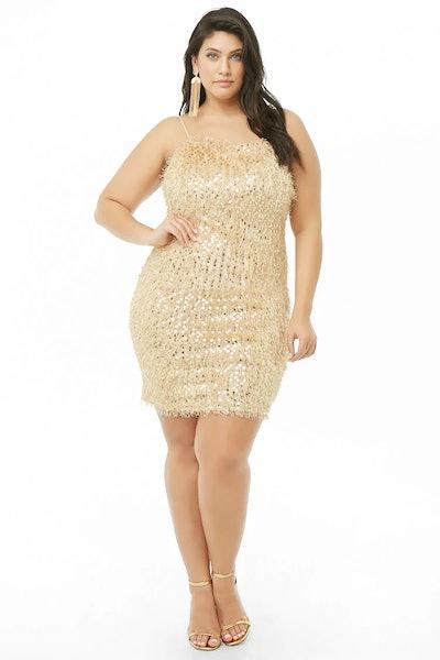 Plus Size Fuzzy Sequin Mini Cami Dress