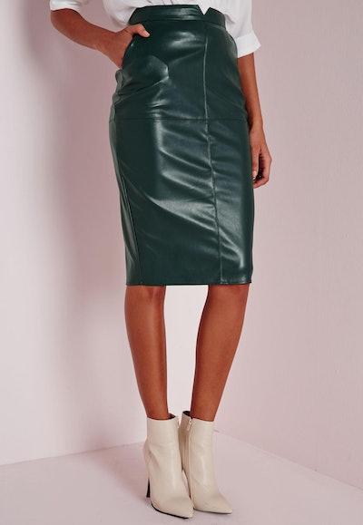Back Split Faux Leather Midi Skirt
