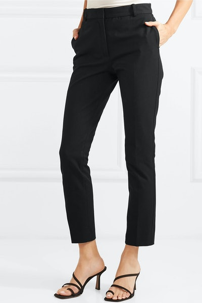 Zoom Cropped Stretch-Gabardine Slim-Leg Pants
