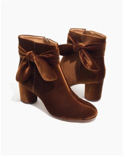 The Esme Bow Boot In Velvet
