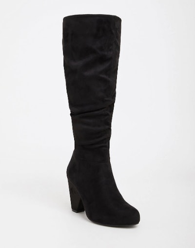 Black Faux Suede Cone Over The Knee Boot