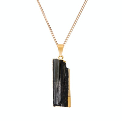 Black Tourmaline Sliced Pendant Necklace