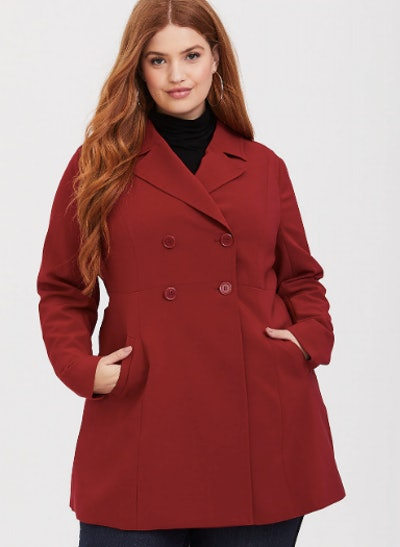 Red A-Line Trench Coat