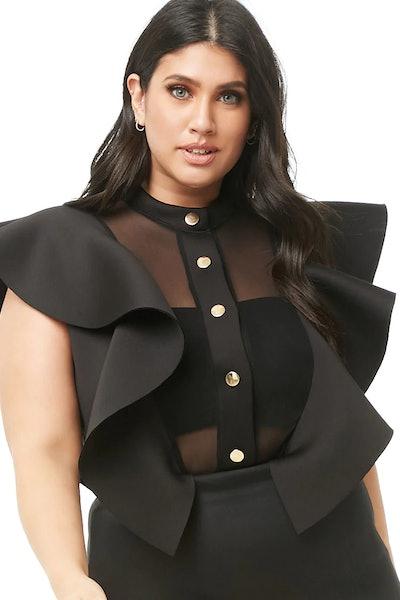 Plus Size Scuba-Knit Bodysuit