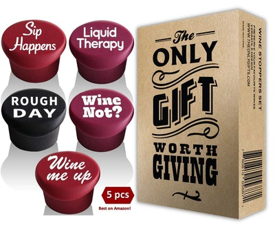 5 Wine Stoppers + Gift Box