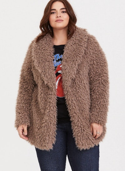 Brown Drapey Sherpa Jacket