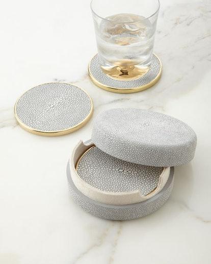 Aerin Dove Faux-Shagreen Coasters
