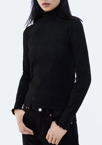 Scalloped Turtleneck Sweater