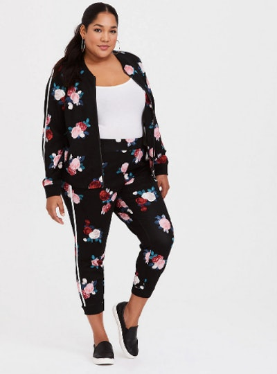 Black & Red Floral Ponte Active Joggers
