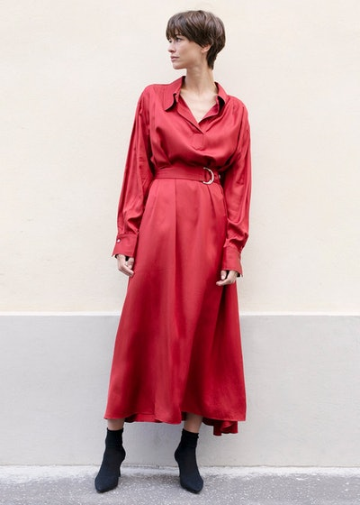 Ruby Red Silky Maxi Dress