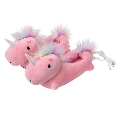 SMOKO Adorable Plush Unicorn Heated Foot Warmer Slippers