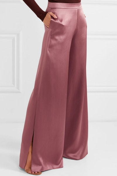 Silk-Charmeuse Wide-Leg Pants