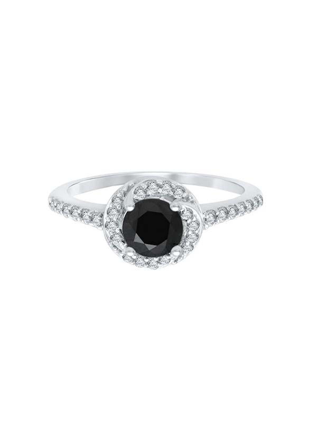 Black And White Diamond Halo Engagement Ring