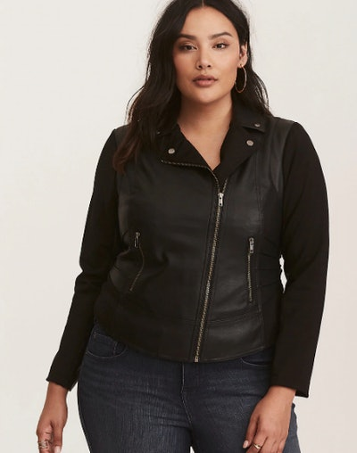 Faux Leather & Knit Moto Jacket