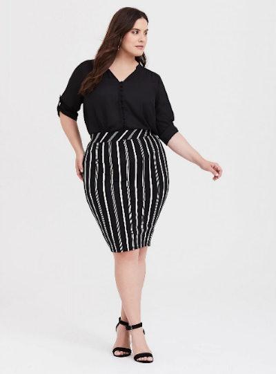 Black & White Stripe Ponte Pencil Skirt