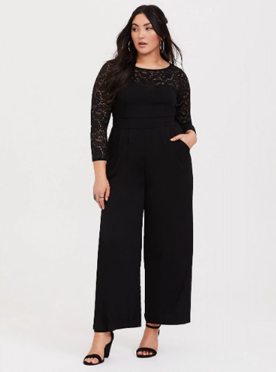 Black Lace Challis Wide Leg Jumpsuit