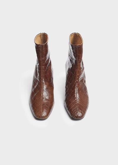 Brown Embossed Croc Ankle Boots