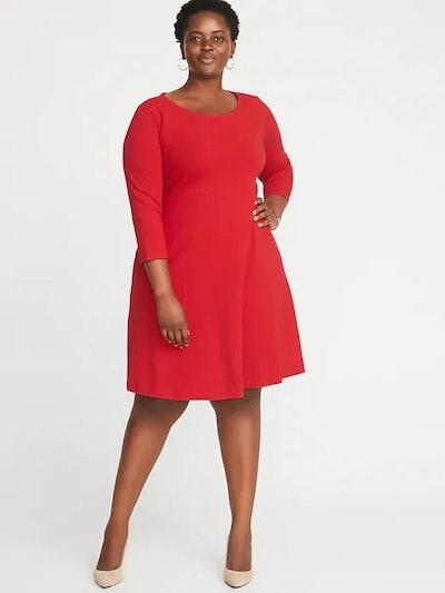 Fit & Flare Plus-Size Scoop-Neck Dress