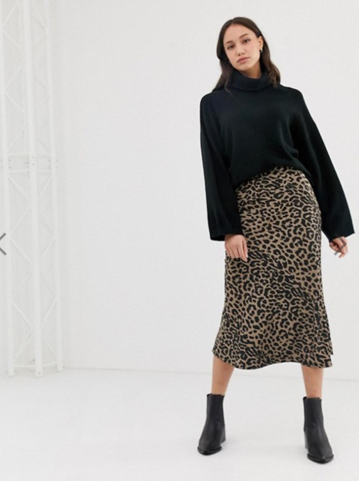 ASOS Design Tall Bias Cut Satin Midi Skirt