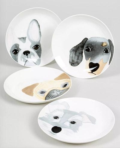 4 Pack Decal Dog Appetiser Plates