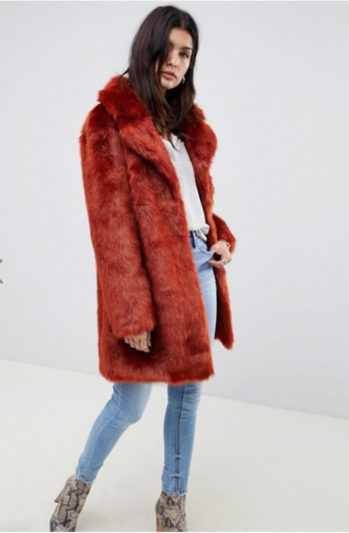 ASOS Design Plush Faux Fur Coat