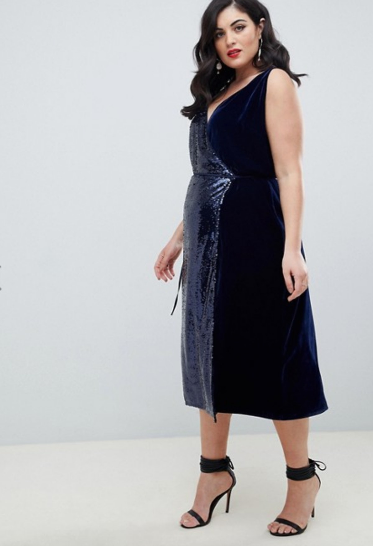ASOS Design Curve Sequin and Velvet Cami Wrap Midi Dress