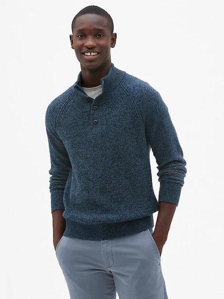 Textured Mockneck Pullover Sweater