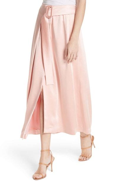 Rejina Pyo Ellis Belted Satin Wrap Skirt