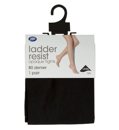 80 Denier Ladder Resist Opaque Black Tights