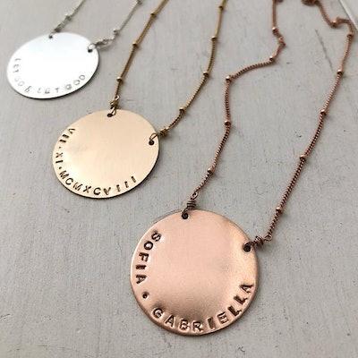Vida Personalized Disc Necklace
