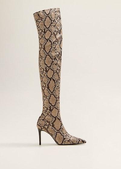 Snake-Effect High-Leg Boots