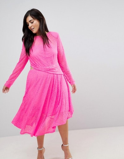 Neon Lace Asymmetric Hem Midi Dress