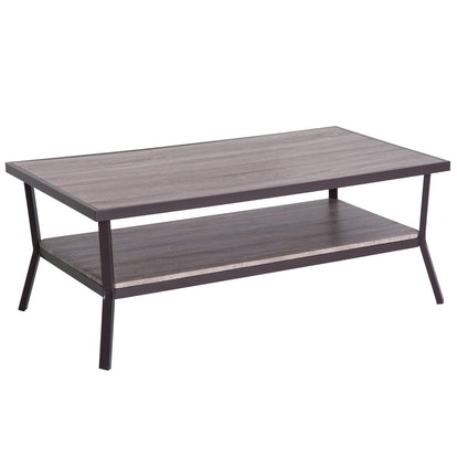Rustic Industrial Minimal Two Tier Wooden Coffee Table