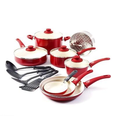 GreenLife 16-piece Ceramic Non-Stick Cookware Set, Burgundy